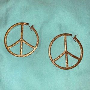 Jewelry - Peace sign hoop earrings brass colored